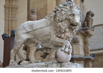 Florence, Italy 06.15.2015: Beautiful Statue Lion Famous Loggia Dei Lanzi Florence Italy