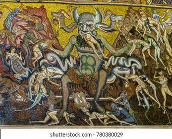 Florence, Italy - 08/08/2012 - Florence, Italy - Florence Baptistery 13th Century Mosaic Ceiling Last Judgement