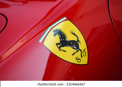 Florence, ITALY - 10 March 2012: Detail of Ferrari Logo on Vintage Classic Ferrari Cars exposed during public event of historical parade at Fiesole (Florence) in Italy.