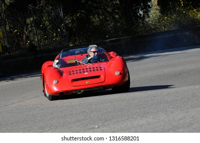Florence, ITALY - 10 March 2012: Classic Fiat ABARTH 1000 SP in action during public event of historical parade at Fiesole (Florence) in Italy.