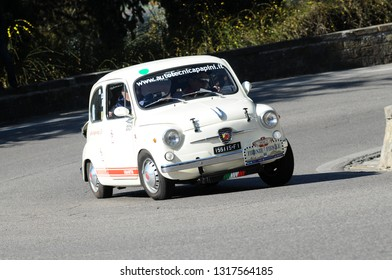 Florence, ITALY - 10 March 2012: Classic Vintage Fiat Abarth 850 TC 1963 in action during public event of historical parade at Fiesole (Florence) in Italy.
