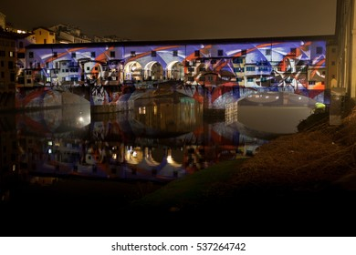 FLORENCE, ITALY - 12 DECEMBER 2016 - Light performance on Ponte Vecchio on December 12, 2016 in Florence (Italy)