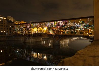 FLORENCE, ITALY - 12 DECEMBER 2016 - Artistic lights show on Ponte Vecchio on December 12, 2016 in Florence (Italy)