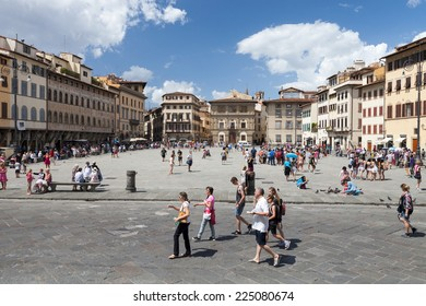 FLORENCE, ITALY: FLORENCE, ITALY - 13th of August 2014: Piazza di Santa Croce on 13th of August 2014 in FLORENCE, ITALY