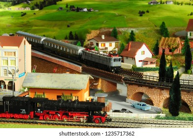 Florence, ITALY - 18 November 2018: Miniature railway model with trains.