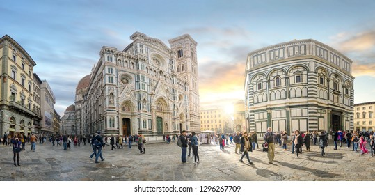 Florence, Italy - 20 January, 2019: The Cathedral of Santa Maria del Fiore (Duomo) from Piazza del Duomo in Firenze at sunset. Catholic church and sightseeing in the old town. Panoramic view. Panorama