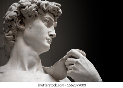 Florence, Italy - 2019, November 10: The original David marble statue, Michelangelo's masterpiece, at the Accademia Gallery. (Path selection included).