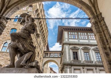 Florence, Italy - 25 June 2018: The Rape of Polyxena at Loggia dei Lanzi Piazza della Signoria in Florence, Italy