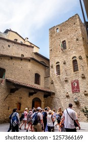Florence, Italy, 29 June 2015: tourists queued up waiting to visit the birth house of the Italian poet Dante Alighieri in Florence, Italy