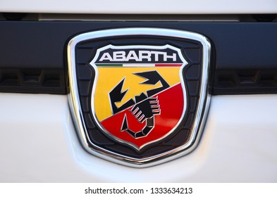 Florence, ITALY - 3 March, 2019: Detail of ABARTH Logo on a white Fiat Punto Evo Abarth.