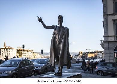 Florence, Italy- 4 January 2017: Giuliano Vangi's San Giovanni Battista statue near Arno, Florence