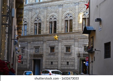 FLORENCE, ITALY 5/01/2020: Foreshortening of Palazzo Rucellai facade by Leon Battista Alberti
