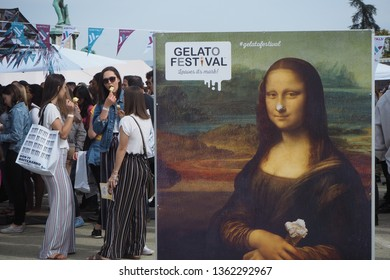 Florence, Italy- 6 April, 2019: Everyone is eating gelato in the Gelato Festival.