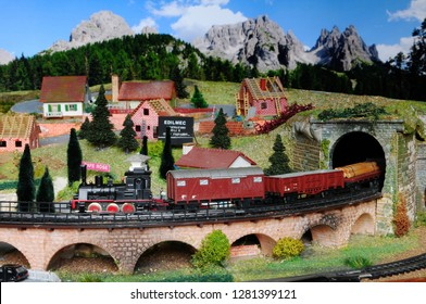 Florence, ITALY - 8 January 2019: Miniature railway model with trains