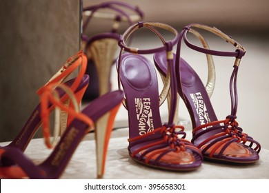 FLORENCE, ITALY - 8 MAY 2012: Shoes sit displayed on sale inside a Salvatore Ferragamo SpA store.