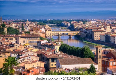 Florence, Italy along the Arno River.