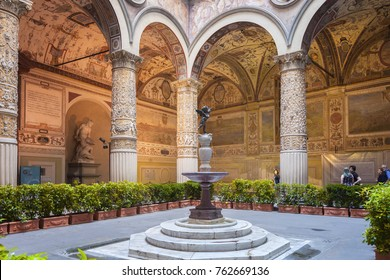 Florence, Italy - April 03: Inner courtyard of Palazzo Vecchio -  town hall of Florence