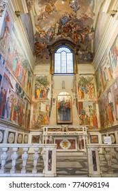 Florence, Italy - April 08, 2017: Brancacci Chapel in the Church of Santa Maria del Carmine, famous of Renaissance frescoes by Masaccio and Masolino da Panicale, lilippino Lippi