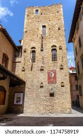 FLORENCE, ITALY - APRIL 08, 2018: House-museum of famous Italian poet Dante Alighieri
