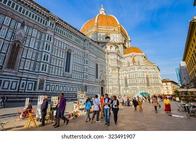 Florence, Italy - April 10, 2015: Piazza della Signoria is an L-shaped square in front of the Palazzo Vecchio in Florence, Italy.