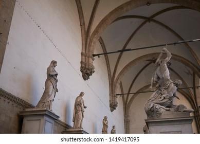 Florence, Italy - April 15, 2019: Statue in Loggia dei Lanzi