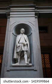 Florence, Italy - April 15, 2019: Giotto statue in Uffizi Gallery