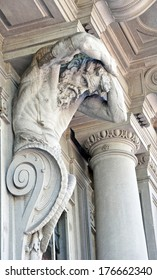 FLORENCE, ITALY - APRIL 17: Sculptures on facade of an old building in Florence, Italy on April 17, 2011. Florence is one  of culture capitals of the world.