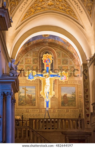 Florence, Italy - April, 2016: Crucifix with Jesus in Chiesa di Ognissanti church in Florence, Italy