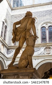 FLORENCE, ITALY - APRIL, 2018: Sculpture of Orpheus and Cerberus by Baccio Bandinelli in the courtyard of Palazzo Medici Riccardi