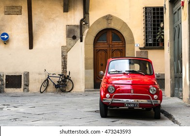 Florence, Italy - April 25, 2016. Vintage Fiat 500L parked on quite street in the old town of Florence.
