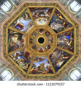 FLORENCE, ITALY - APRIL 30, 2015: Interior view of Medici Chapel in Florence, Italy. The landmark is a part of Basilica of San Lorenzo.