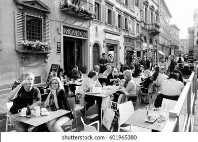 FLORENCE, ITALY - APRIL 30, 2015: People dine out in Florence, Italy. Italy is visited by 47.7 million tourists a year (2013).