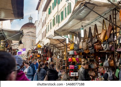 Florence, Italy - April 6, 2018. Artisanal products in San Lorenzo market