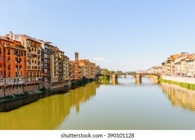 FLORENCE, ITALY - AUG 17, 2013: River Arno and the architecture of Florence, Italy. Florence is the capital city of Tuscany