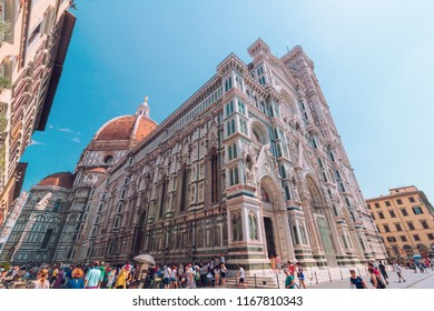 Florence, Italy - August 06, 2017: Duomo Santa Maria del Fiore roman catholic church building, gothic style architecture, ultra wide shot