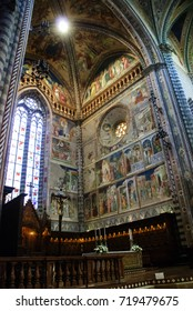 FLORENCE, ITALY - AUGUST 16, 2017: Interior of The Duomo di Orvieto is a large 14th century Roman Catholic cathedral situated in the town of Orvieto in Umbria, central Italy