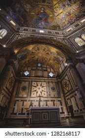 FLORENCE, ITALY - AUGUST 17, 2018: Interior view of the Baptistery of Saint John in Florence, Italy. The landmark features Florentine Romanesque style and has mosaics by Jacopo Torriti.