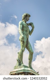 FLORENCE, ITALY - AUGUST 20, 2014: The replica of David, statue by Michelangelo at Piazzale Michelangelo