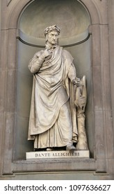 Florence, Italy - August 21, 2015: Old Statue of Dante Aligheri a famous italian poet. Only Editorial Use