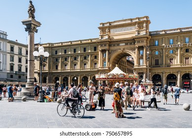Florence, Italy - August 23, 2016: Square of the Republic in Florence, Piazza della Repubblica, a sunny day of summer. It is a city square on the site of the old roman forum