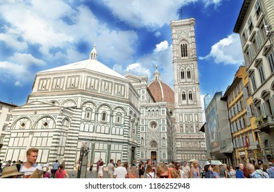 FLORENCE, ITALY - August 29, 2018: The Florence Baptistry, also known as the Baptistry of Saint John, and Giotto's Campanile in Florence.