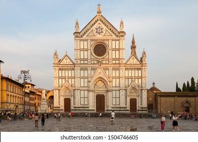 FLORENCE, ITALY - AUGUST 30, 2019: Piazza di Santa Croce And Basilica di Santa Croce di Firenze