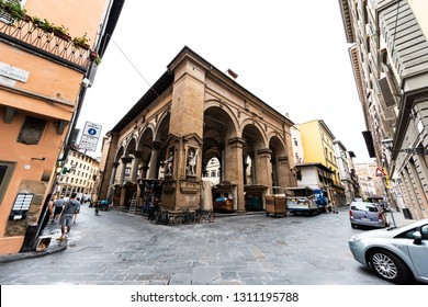 Florence, Italy - August 31, 2018: Building facade of historic Mercato del Porcellino in Firenze, Italian city architecture in morning