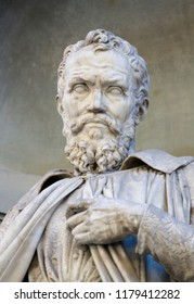 Florence, Italy - August 9, 2018: Statue of Michelangelo in Florence, Italy. Michelangelo was an Italian sculptor, painter, architect and poet of the High Renaissance