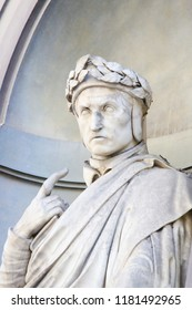 Florence, Italy - August 9, 2018: Statue of the famous Italian Poet Dante Alighieri, in Florence, Italy