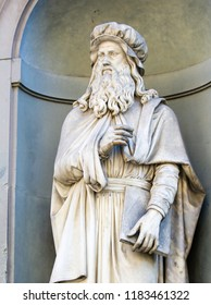 Florence, Italy - August 9, 2018: Statue of Leonardo da Vinci in Florence, Italy.
