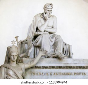 Florence, Italy - August 9, 2018: Funerary Monument for the famous Italian Poet Dante Alighieri, in the Santa Croce Basilica in Florence, Italy