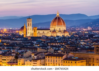 Florence, Italy - The Cathedral and the Brunelleschi Dome at sunset