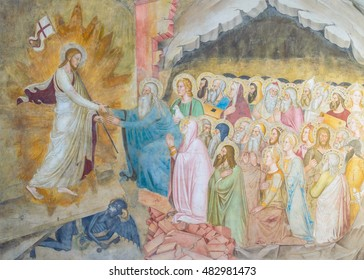 FLORENCE, ITALY - CIRCA FEBRUARY 2016 - Resurrection of Jesus - a detail of a historic renaissance fresco wall painting of Jesus descending to hell and liberating the righteous men