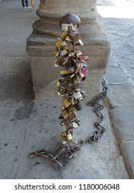 FLORENCE, ITALY - CIRCA JULY 2016: Love lock padlock sweethearts locked to a fence to symbolize eternal love
